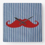 Funny Red Mustache And Blue White Stripes Wall Clocks