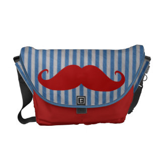 Funny Red Mustache And Blue White Stripes Courier Bag