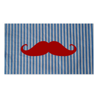 Funny Red Mustache And Blue White Stripes Double-Sided Standard Business Cards (Pack Of 100)