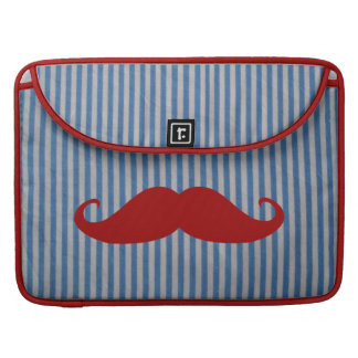 Funny Red Mustache And Blue White Stripes MacBook Pro Sleeves