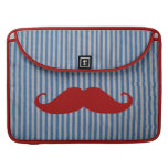 Funny Red Mustache And Blue White Stripes Sleeves For MacBook Pro