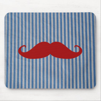 Funny Red Mustache And Blue White Stripes Mouse Pad