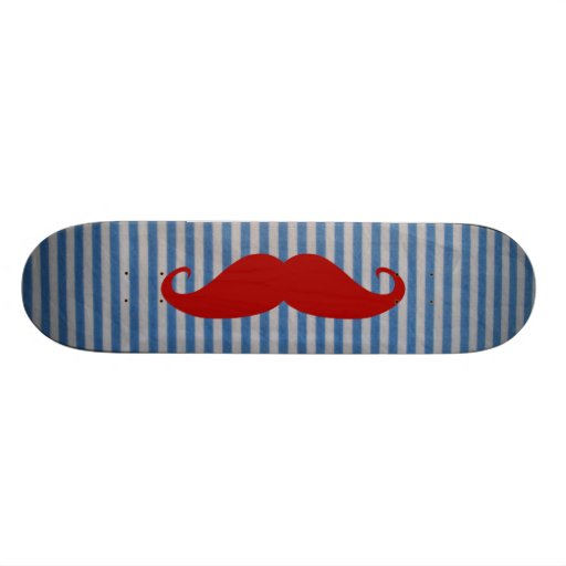 Funny Red Mustache And Blue White Stripes Skateboards