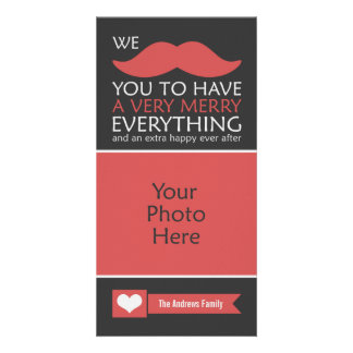 Funny Red Mustache Christmas Photo Card