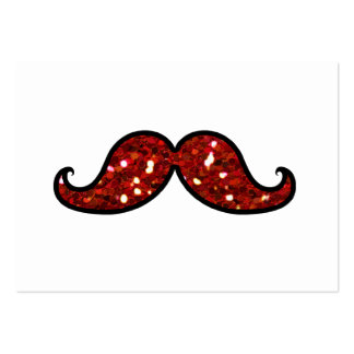 FUNNY RED MUSTACHE PRINTED GLITTER LARGE BUSINESS CARDS (Pack OF 100)