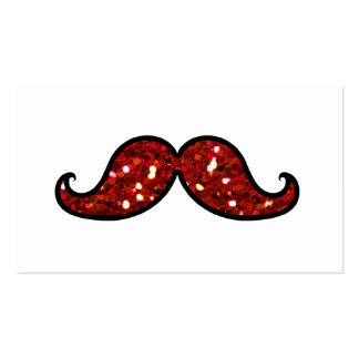 FUNNY RED MUSTACHE PRINTED GLITTER Double-Sided STANDARD BUSINESS CARDS (Pack OF 100)