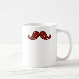FUNNY RED MUSTACHE PRINTED GLITTER COFFEE MUG