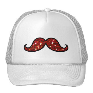 FUNNY RED MUSTACHE PRINTED GLITTER HAT