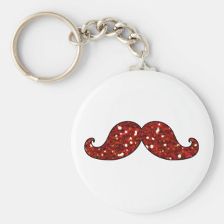 FUNNY RED MUSTACHE PRINTED GLITTER KEY CHAIN