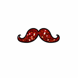 FUNNY RED MUSTACHE PRINTED GLITTER PHOTO CUT OUTS