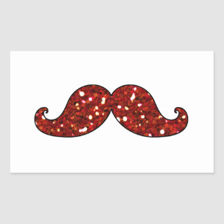 FUNNY RED MUSTACHE PRINTED GLITTER STICKERS