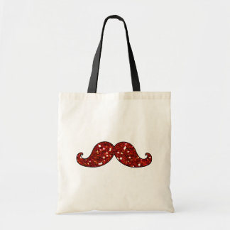 FUNNY RED MUSTACHE PRINTED GLITTER TOTE BAG