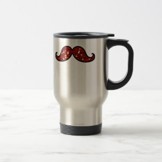 FUNNY RED MUSTACHE PRINTED GLITTER TRAVEL MUG