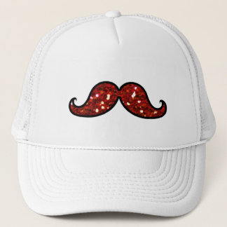 FUNNY RED MUSTACHE PRINTED GLITTER TRUCKER HAT