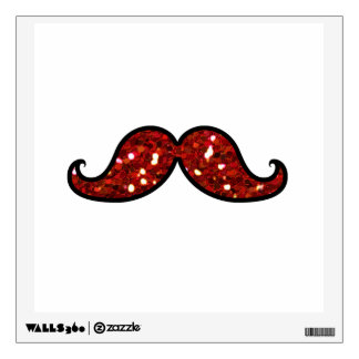 FUNNY RED MUSTACHE PRINTED GLITTER WALL STICKERS