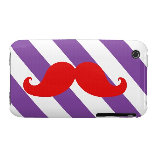 Funny Red Mustache Purple Stripes iPhone 3 Case-Mate Case