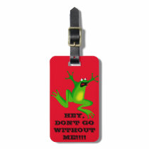 FUNNY RED   NEON GREEN FROG LUGGAGE TAG