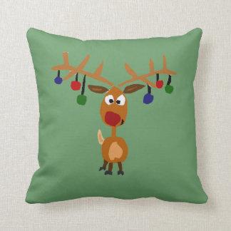 Funny Red Nose Reindeer Christmas Art Throw Pillow