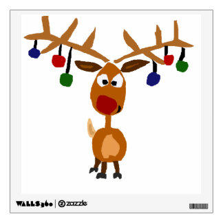 Funny Red Nose Reindeer Christmas Art Wall Decal