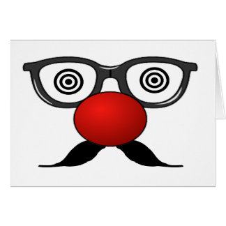 Funny Red Nose weird eyes glasses moustache Greeting Cards