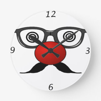 Funny Red Nose weird  eyes glasses moustache Round Clock