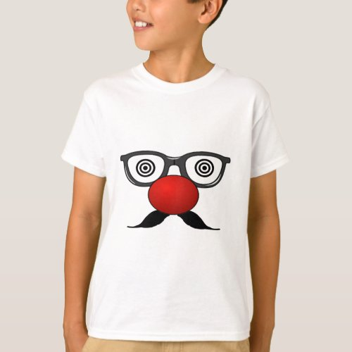 Funny Red Nose weird  eyes glasses moustache T_Shirt