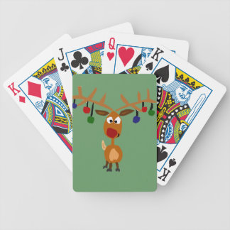 Funny Red Nosed reindeer Christmas Art Bicycle Playing Cards
