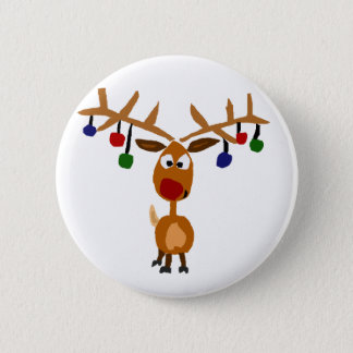 Funny Red Nosed reindeer Christmas Art Button