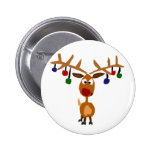 Funny Red Nosed reindeer Christmas Art 2 Inch Round Button