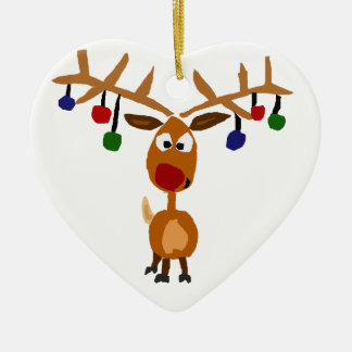 Funny Red Nosed reindeer Christmas Art Ceramic Ornament