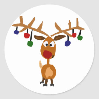 Funny Red Nosed reindeer Christmas Art Classic Round Sticker