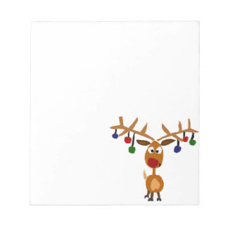 Funny Red Nosed reindeer Christmas Art Notepad