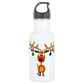 Funny Red Nosed reindeer Christmas Art Water Bottle