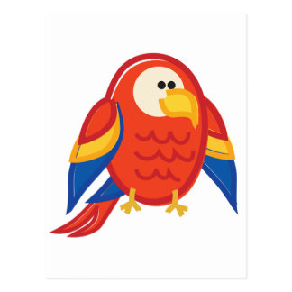 Funny Red Parrot on White Postcard