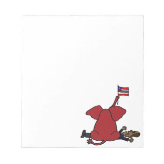 Funny Red Republican Elephant Sitting on Obama Scratch Pads