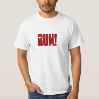 funny red 'run!' Running with the Bulls San Fermin Tee Shirt