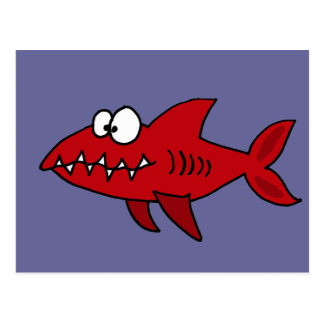 Funny Red Shark Cartoon Postcard