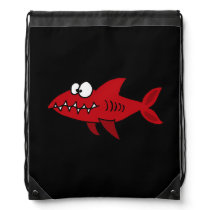Funny Red Shark Drawstring Backpack