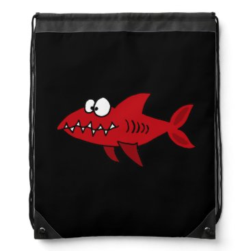 Beach Themed Funny Red Shark Drawstring Backpack