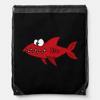 Funny Red Shark Drawstring Bag