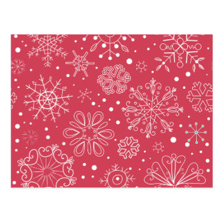 Funny Red Snowflakes Pattern Postcard