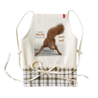 Funny Red Squirrel Photo Special Kind of Nuts Zazzle HEART Apron