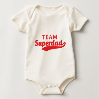Funny Red Team Super Dad inspired text Baby Bodysuit