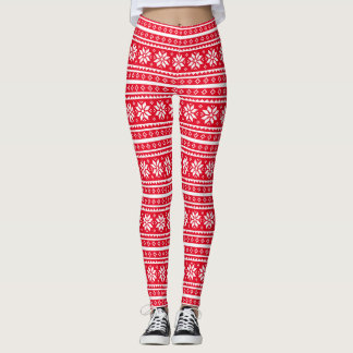 Funny red ugly christmas sweater pattern leggings