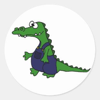 Funny Redneck Alligator in Overalls Classic Round Sticker