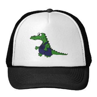 Funny Redneck Alligator in Overalls Trucker Hat