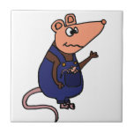 Funny Redneck Possum in Overalls Small Square Tile