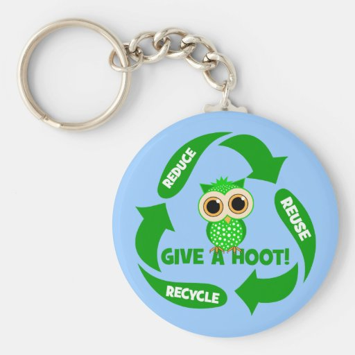 funny reduce reuse recycle keychain