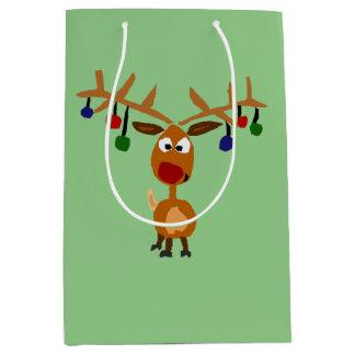 Funny Reindeer and Lights Christmas Gift Bag