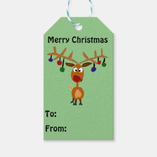 Funny Reindeer Christmas Gift Tag